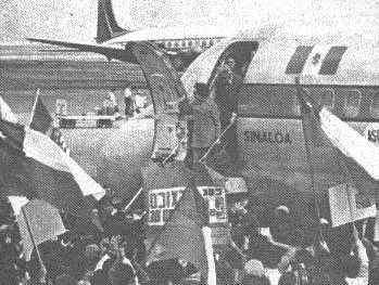Mrs. Hortensia Bussi arrives to México after the coup d'Ètat.